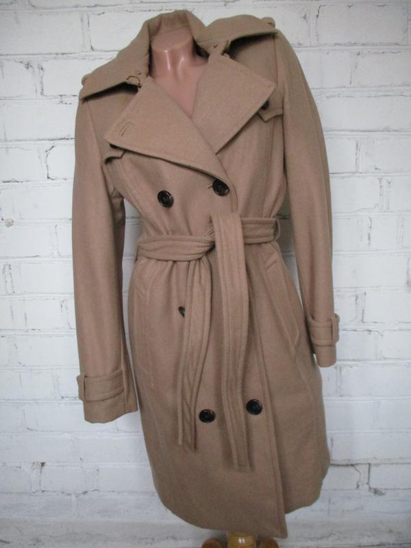 Пальто-халат, пальто-бушлат с поясом и капюшоном/кемел, бежево...