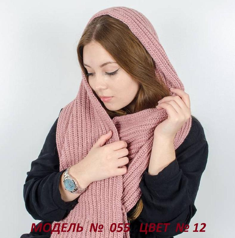 Зимний теплый вязаный женский снуд, хомут - Фото 3
