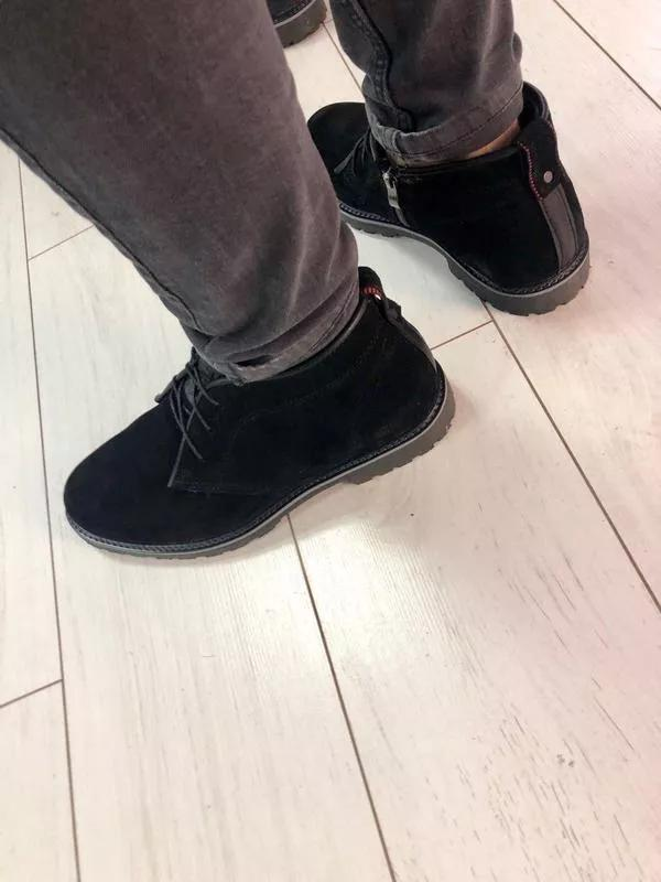Мужские зимние ботинки черные замшевые - Фото 3