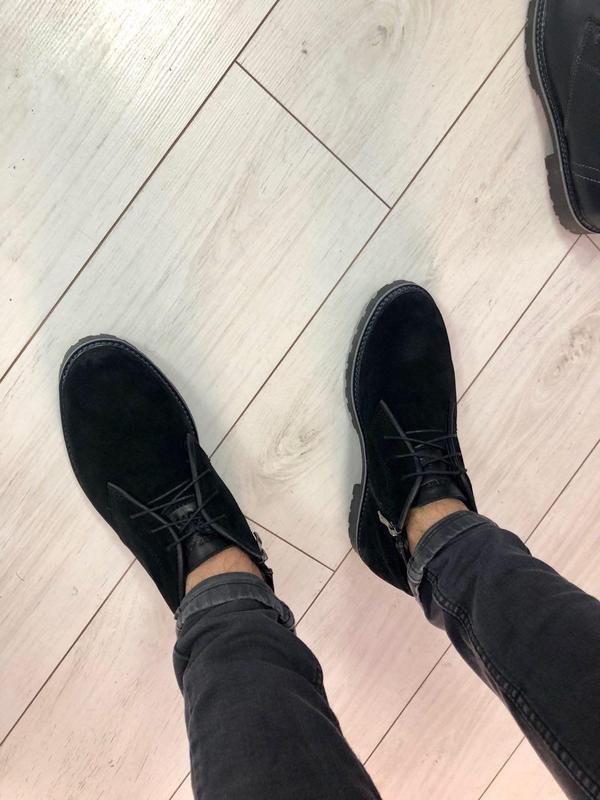 Мужские зимние ботинки черные замшевые - Фото 4