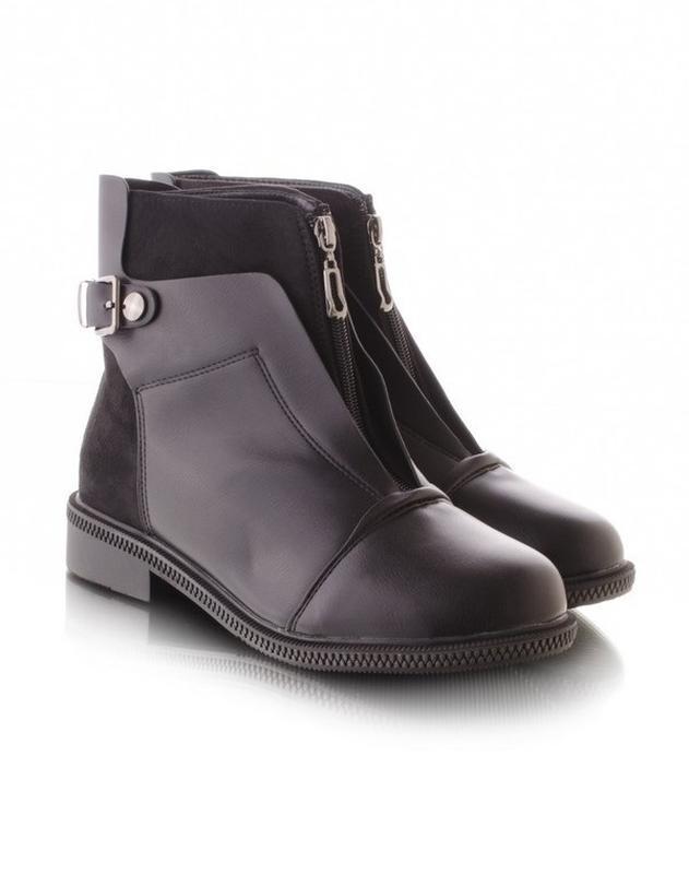 Стильные женские черные демисезонные ботинки низкий каблук мол...