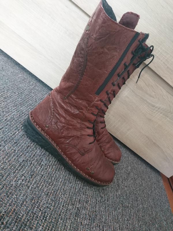 Сапоги женские на шнуровке. коричневые 38 размера