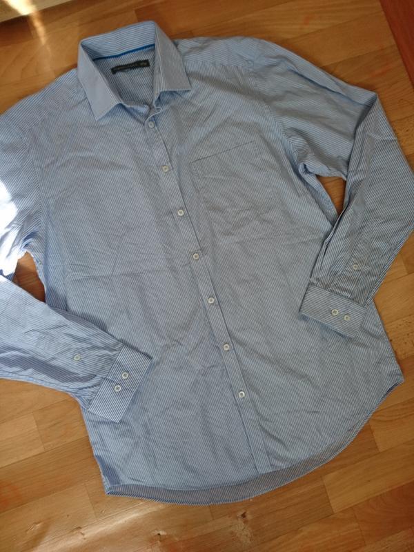 Рубашка мужская бело голубая полоска c&a