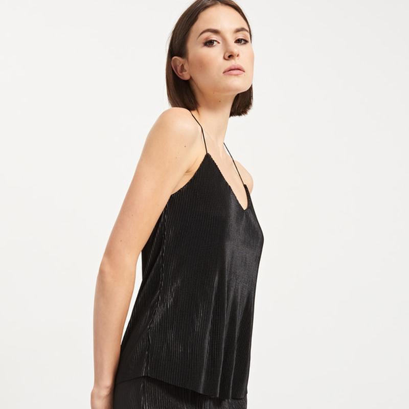 Нарядная черная майка блуза плиссе топ бархат
