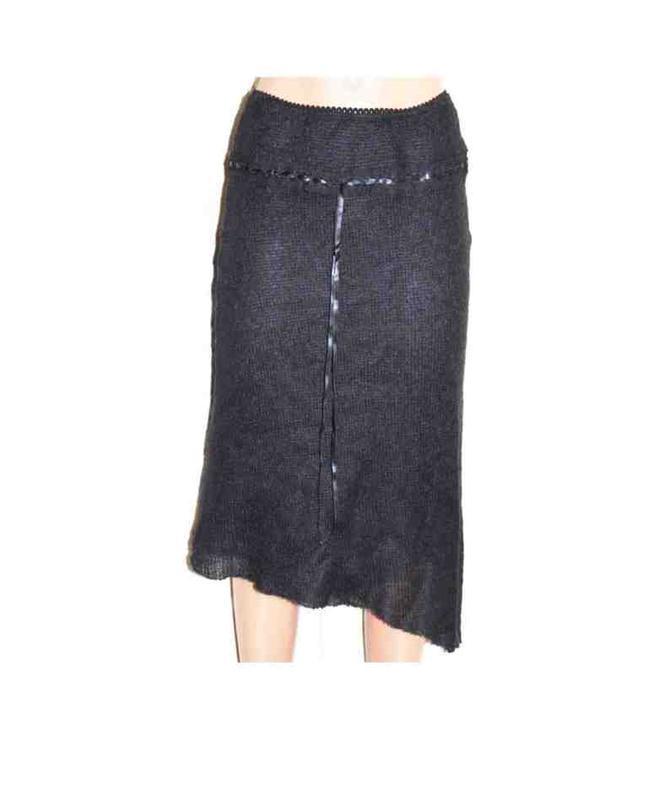 Модная юбка трикотаж мохер шерсть чёрная , италия