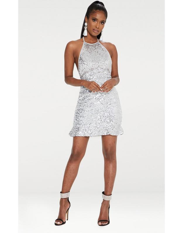 Шикарное новогоднее блестящее платье prettylittlething ✨ сереб...