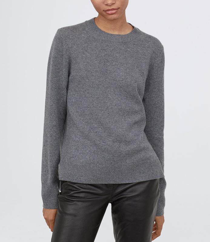 Кашемировый свитер 100% кашемир базовый джемпер h&m серый меланж