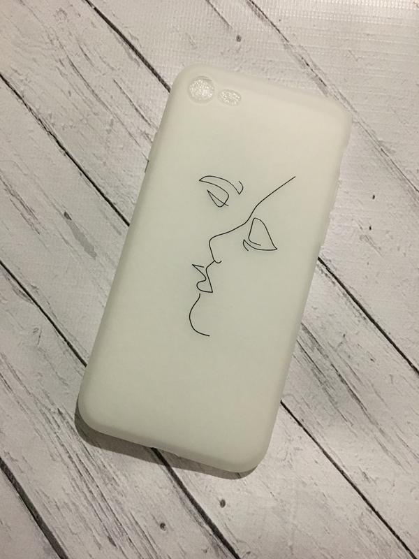 Новый силиконовый матовый чехол с силуэтами на айфон iphone 7 и 8