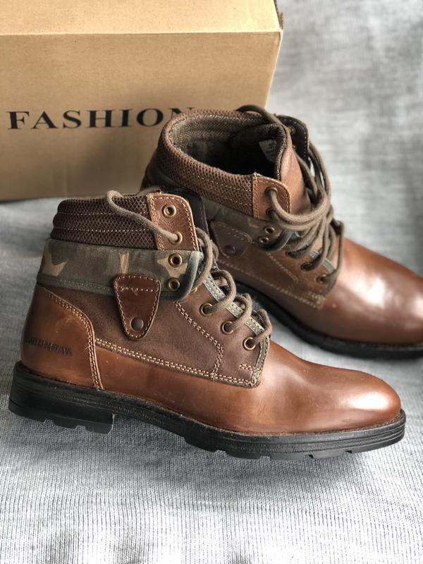 Мужские ботинки из натуральной кожи коричневого цвета бренд un...