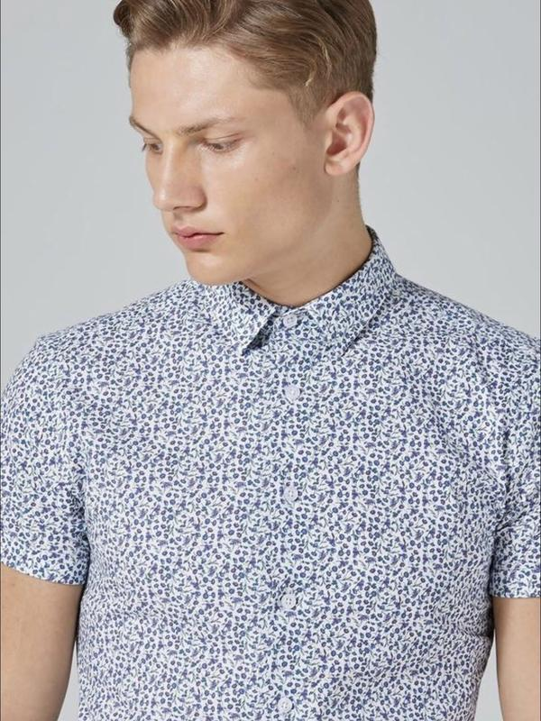 Рубашка topman white and blue floral , muscle fit ! topman - Фото 2
