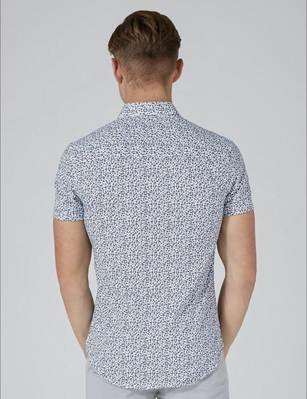 Рубашка topman white and blue floral , muscle fit ! topman - Фото 4