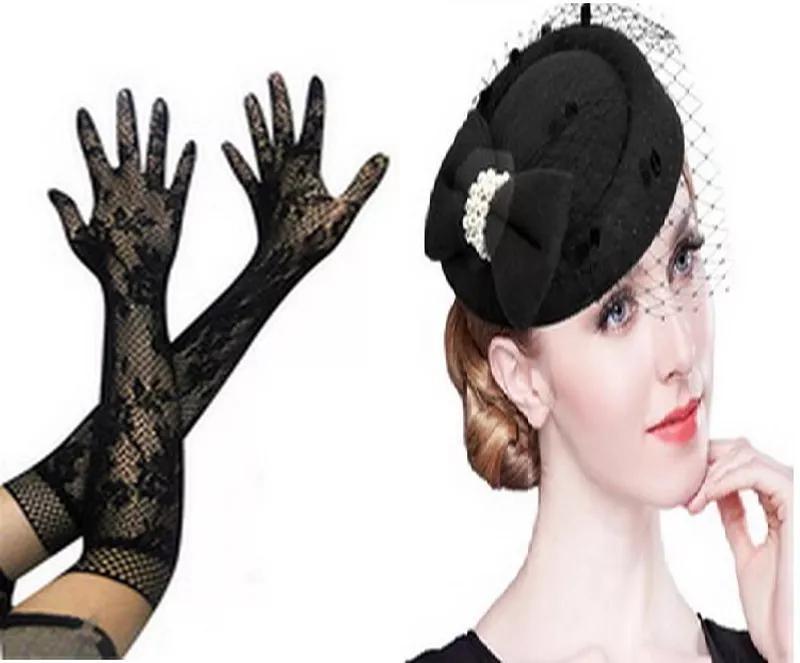 Перчатки длинные шляпка с вуалью вуалетка ретро набор