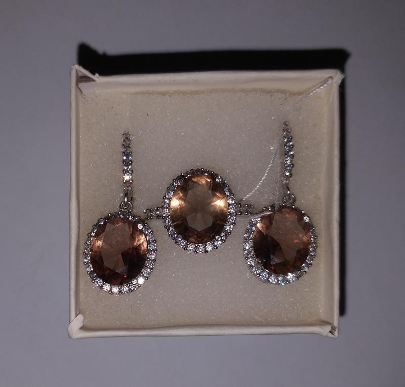 серебряные серьги и кольцо с султанитом новые
