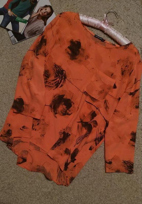 Massimo изумительная блуза кораллового цвета в абстрактный принт