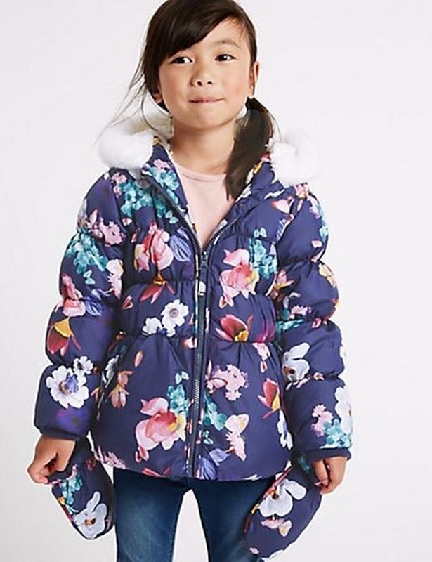 Куртка зимняя цветочки