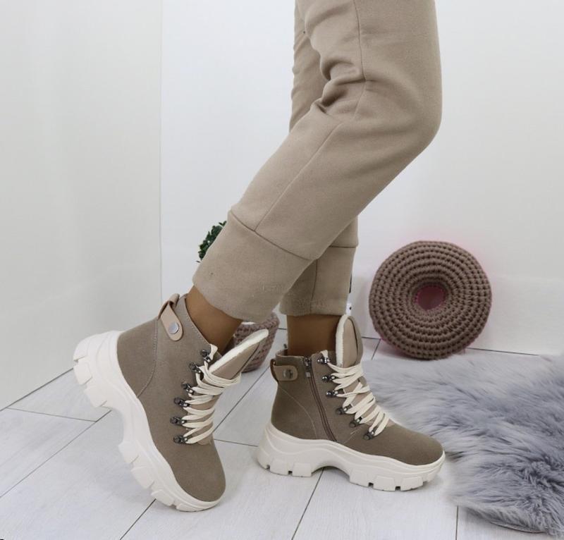 Новые шикарные женские зимние коричневые ботинки
