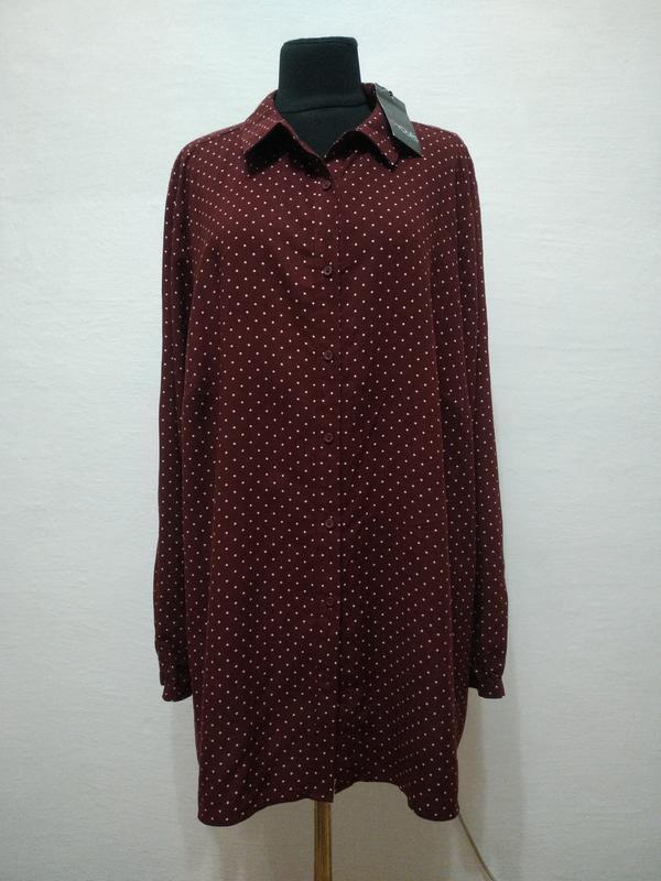 Стильная натуральная блуза в горошек большого размера