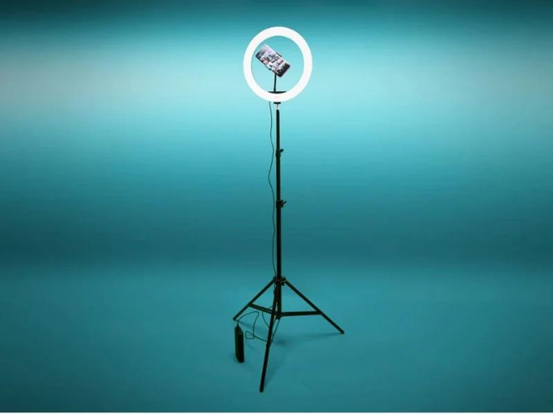 Кольцевая лампа 30 см со штативом 2 м для селфи Светодиодная к...