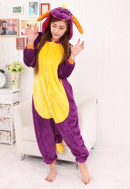 Пижама кигуруми дракон фиолетовый «спайро»