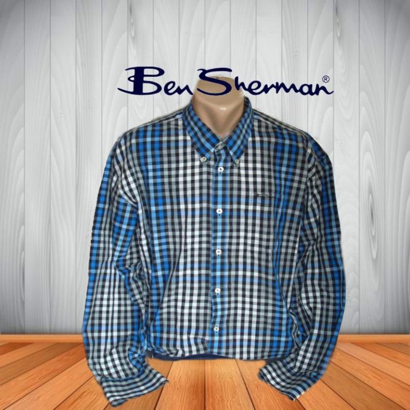 🌿🌿ben sherman стильная мужская рубашка в клетку длин рукав ори...