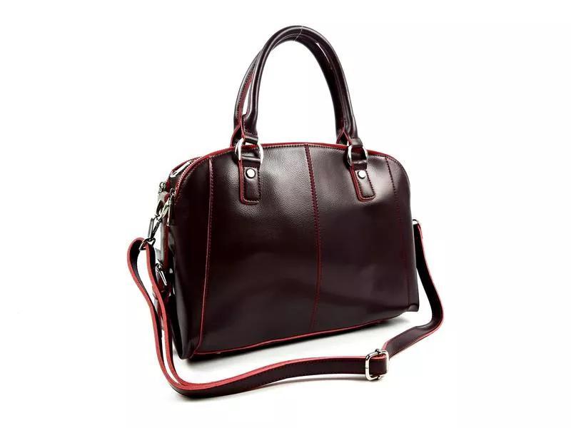 Женская большая кожаная сумка бордо