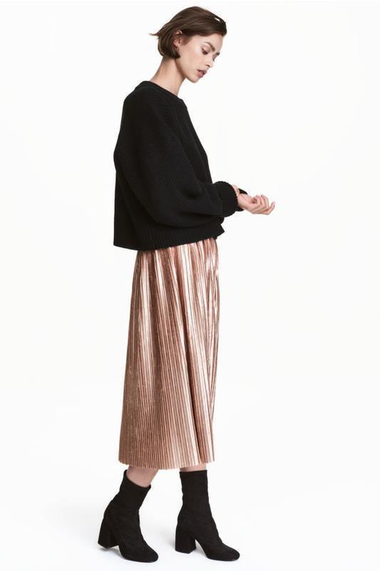 Бархатная юбка миди мрамор h&m