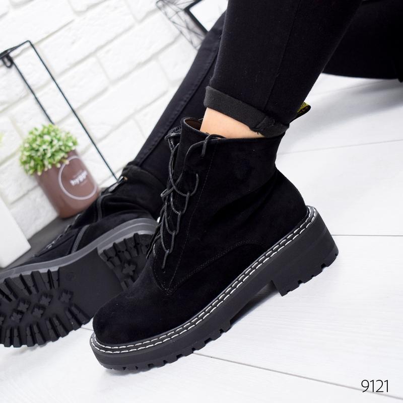 ❤ женские черные осенние деми ботинки сапоги ботильоны на флисе ❤