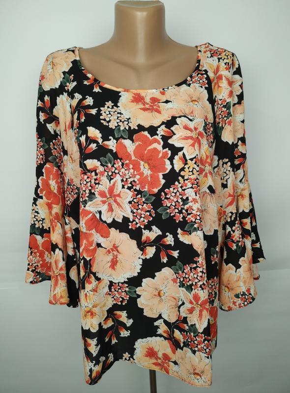 Блуза легкая летняя в цветы большой размер uk 18/46/xxl