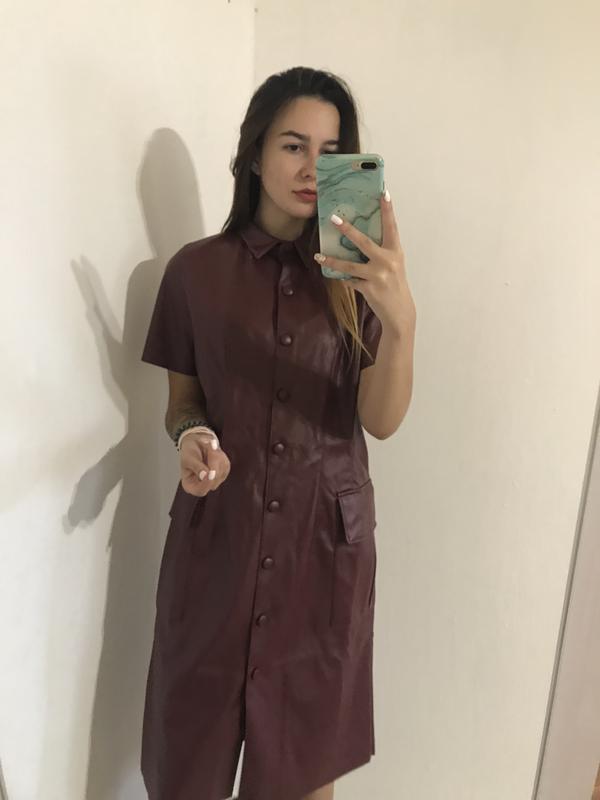 Бордовое платье рубашка под кожу