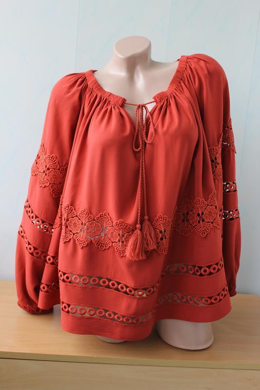 Блуза оверсайз с кружевом , со спущенніми плечиками new look