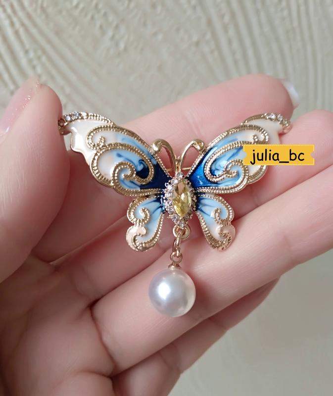 Брошь-подвеска бабочка жемчуг, смотрите больше бижутерии в моих о - Фото 2