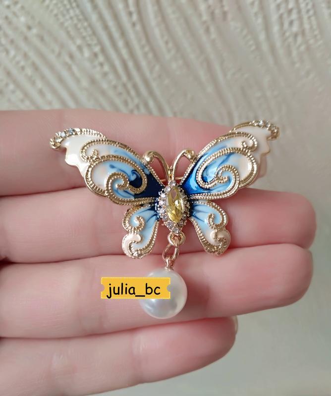 Брошь-подвеска бабочка жемчуг, смотрите больше бижутерии в моих о - Фото 3