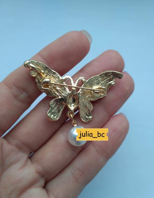 Брошь-подвеска бабочка жемчуг, смотрите больше бижутерии в моих о - Фото 4