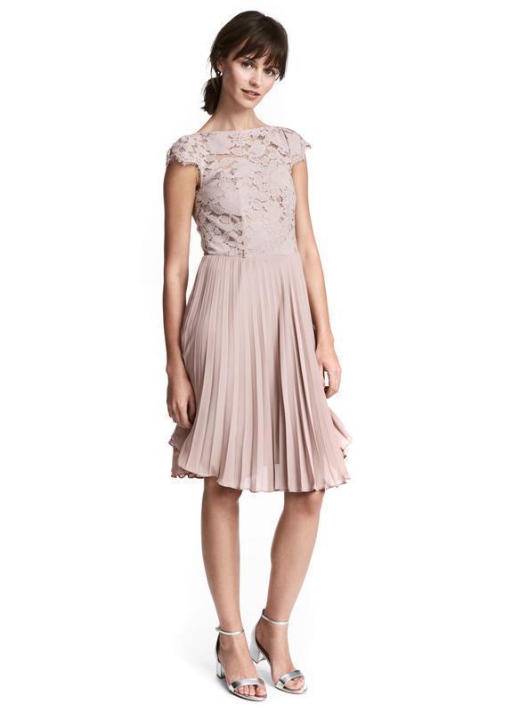 H&m платье кружевное, ажурное, плиссированное, плиссе