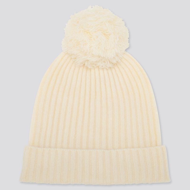 Мягкий теплый сет белая шапка с бамбоном + белый шарф uniqlo