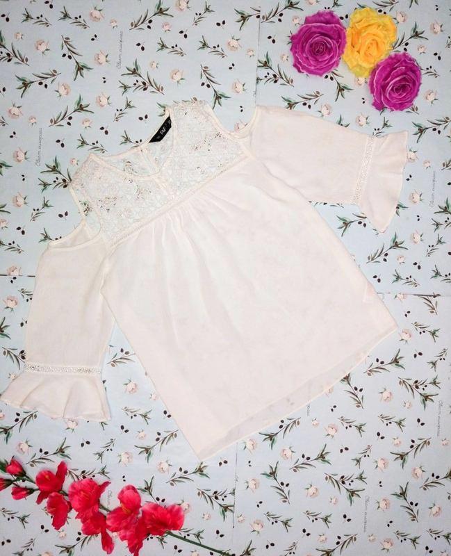 🎁1+1=3 оригинальная белая блуза с кружевом f&f, размер 48 - 50
