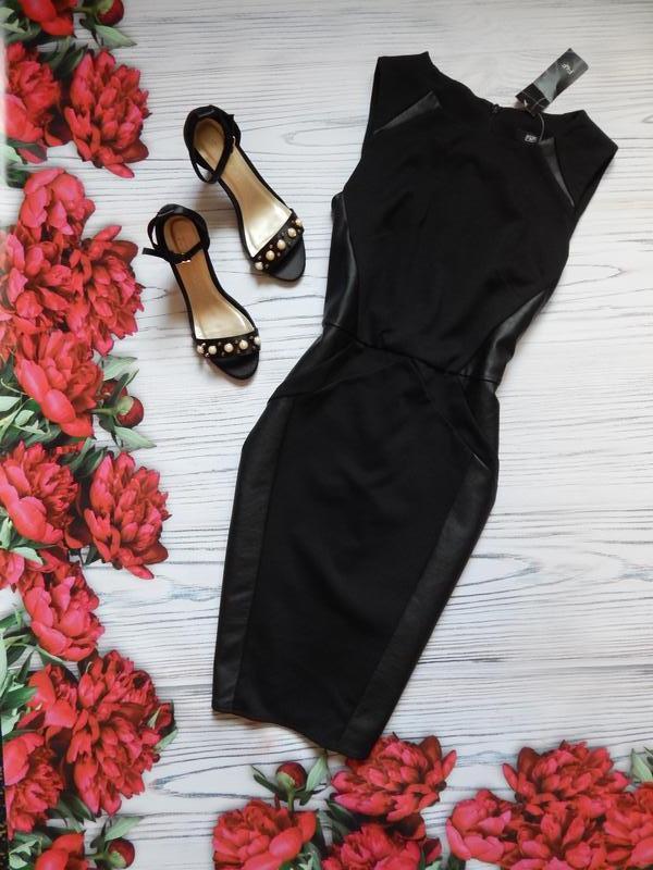 🌿элегантное платье со вставками эко кожи от  f&f. размер l.🌿