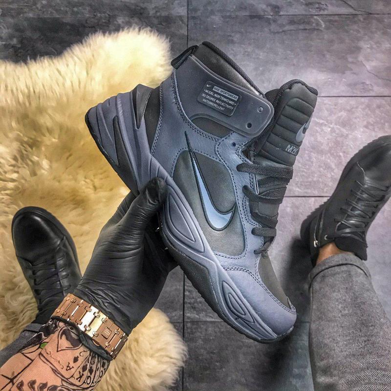 Nike m2k tekno mid grey black, мужские чёрные кроссовки найк, ...