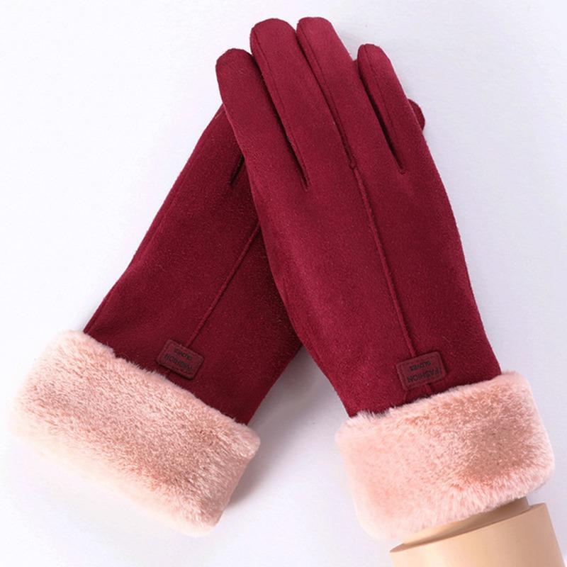 Перчатки женские зимние сенсорные под замшу утепленные с мехом