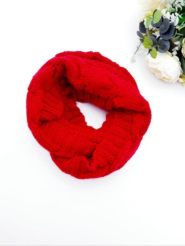 Яркий крассный шарф красивенный шарф-хомут теплый