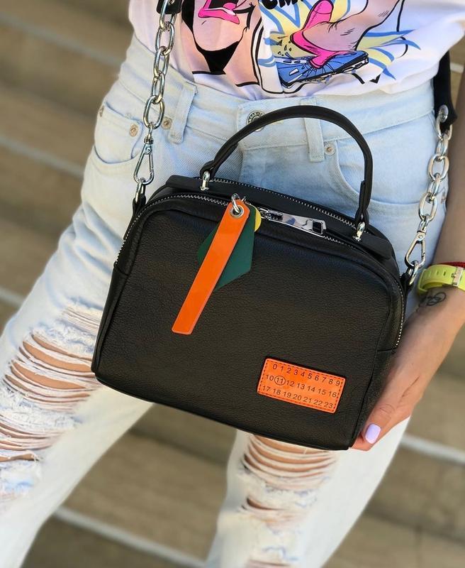 Женская кожаная сумка polina & eiterou на два отделения чёрная...