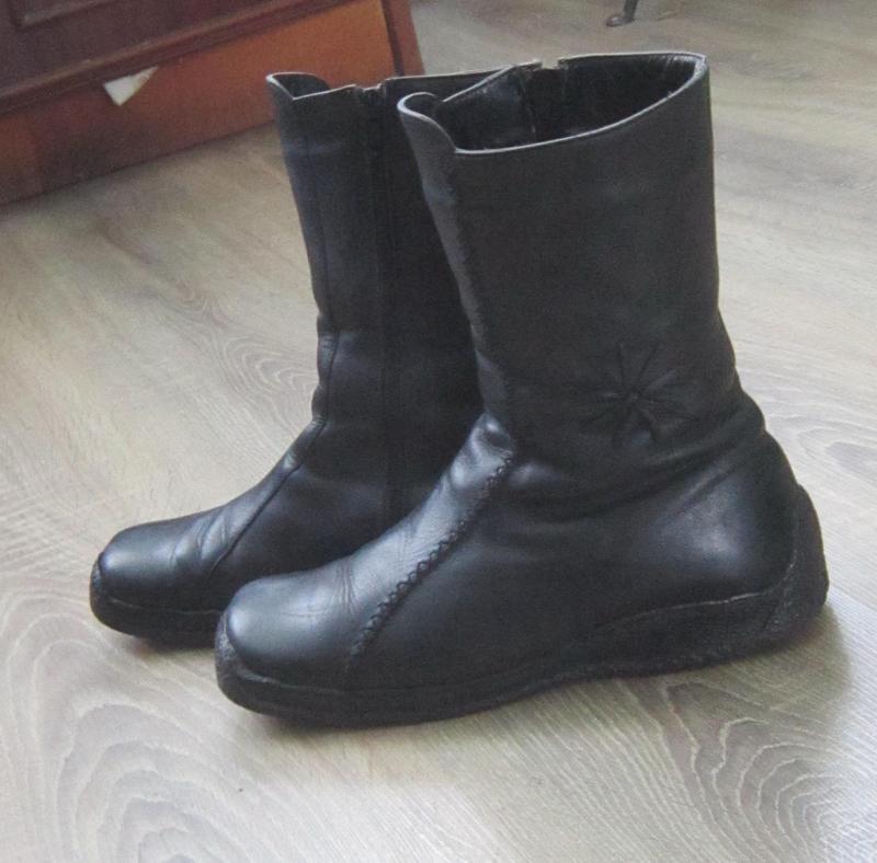 Сапоги ботинки зимние кожаные на цигейке