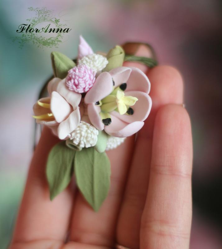 """Кулон ручной работы с цветами  """"весенний аромат"""""""