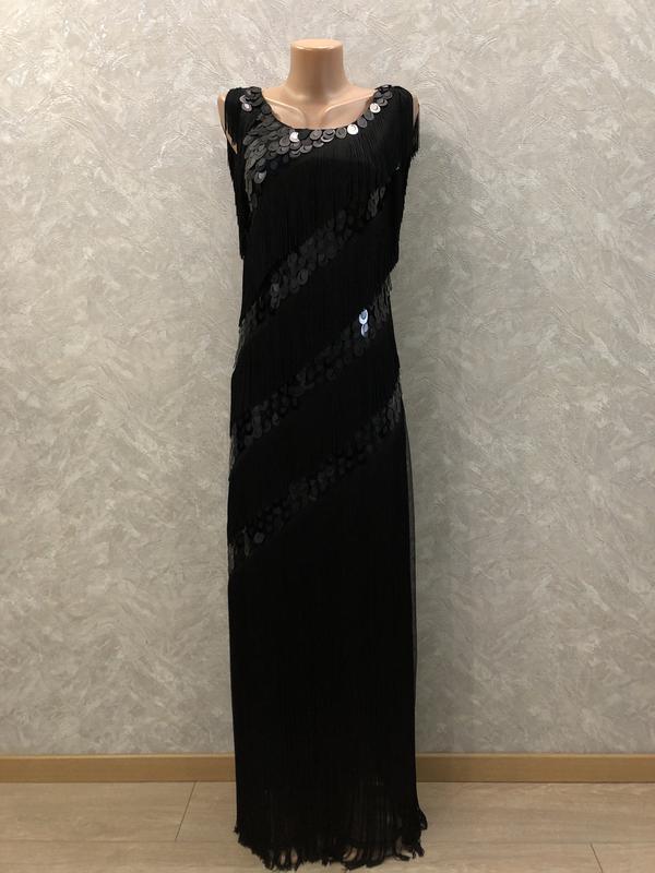 Платье вечернее макси в паетки с бахромой размер 8-10
