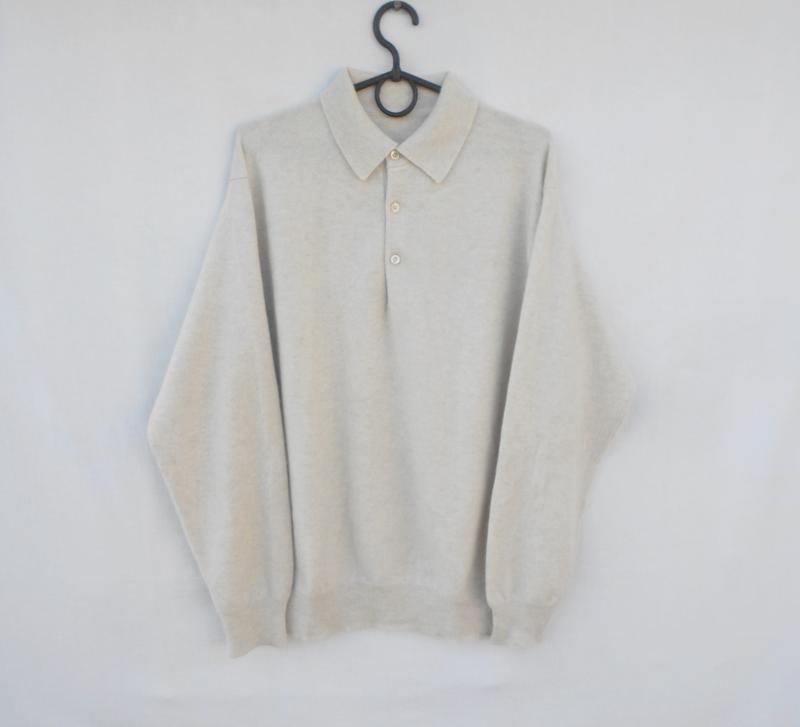 Зимний осенний мягкий кашемировый свитер поло с длинным рукавом