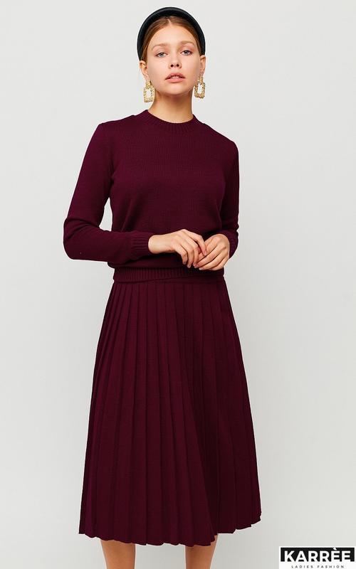 Костюм вязаный бургунди юбка свитер плиссе