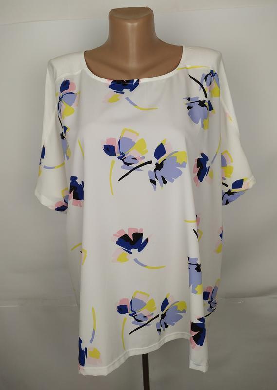 Блуза красивая комбинированная в принт большой размер marks&sp...