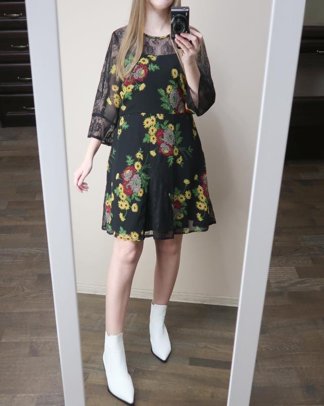 Сукня в квітковий принт з кружевом / платье в цветочный принт ...