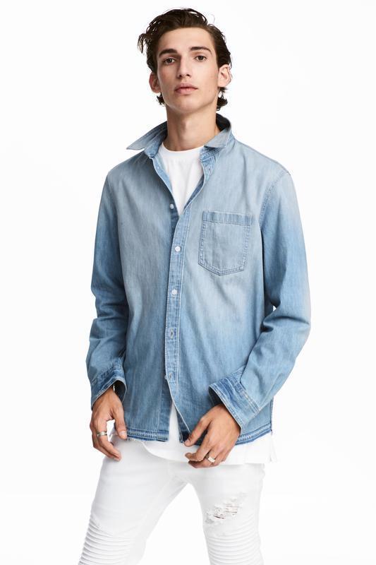 Голубая джинсовая рубашка h&m !