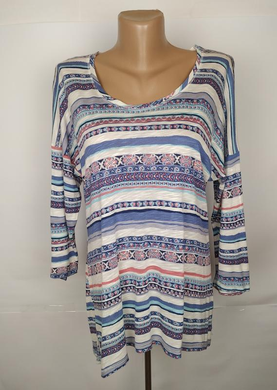 Блуза трикотажная стильная натуральная в орнамент monsoon uk 1...